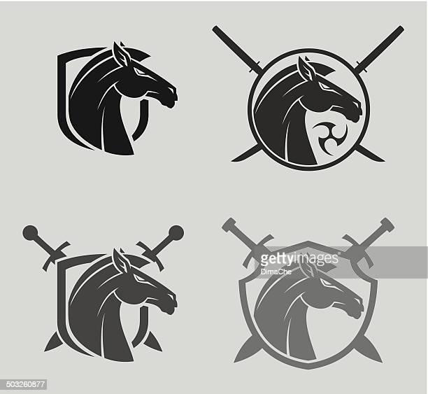 horse head mascot - mustang wild horse stock illustrations, clip art, cartoons, & icons
