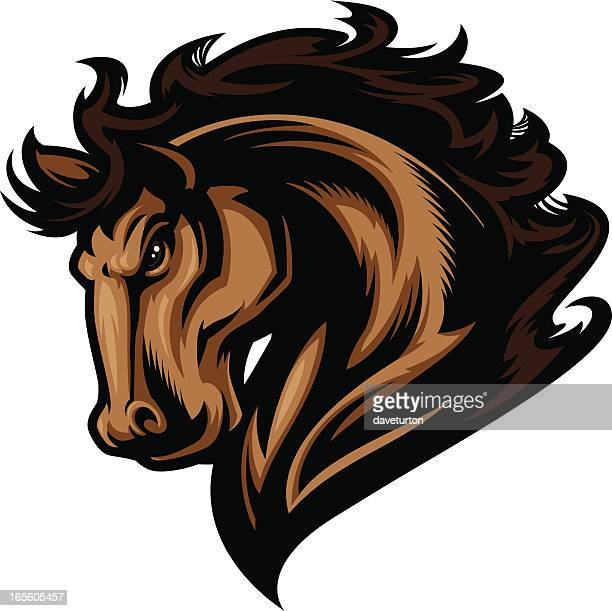 horse head profile - stallion stock illustrations, clip art, cartoons, & icons