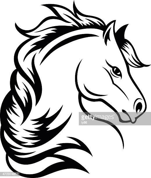horse head - living organism stock illustrations, clip art, cartoons, & icons