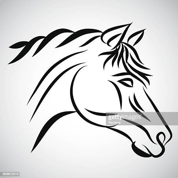 horse head - animal mane stock illustrations, clip art, cartoons, & icons