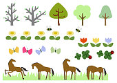 Horse herd and spring plant.Image of spring. Illustration of spring landscape. Material collection.