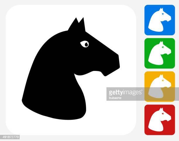 horse icon flat graphic design - mare stock illustrations, clip art, cartoons, & icons