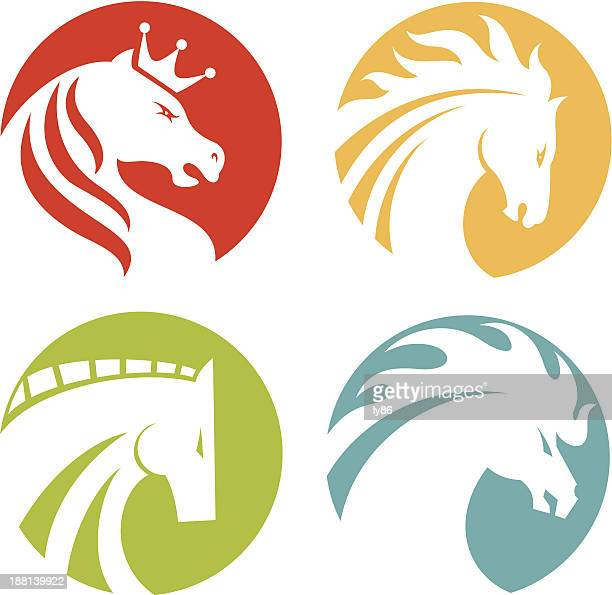 horse icons - stallion stock illustrations, clip art, cartoons, & icons