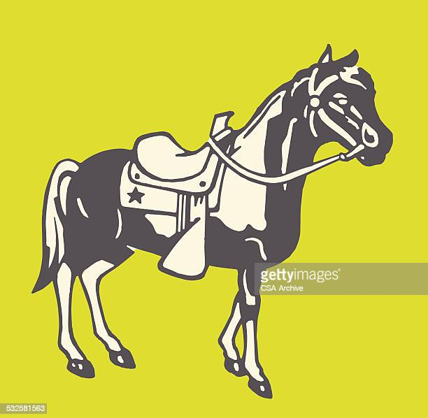 horse in saddle and bridle - pony stock illustrations, clip art, cartoons, & icons