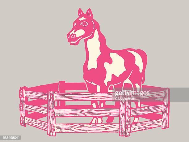 馬内側にペン - 家畜柵点のイラスト素材/クリップアート素材/マンガ素材/アイコン素材