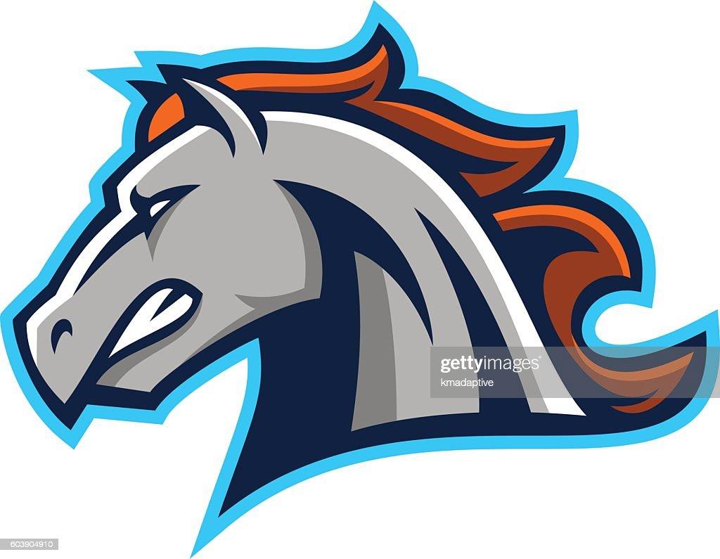 Horse mascot illustration. Illustration of the strong horse mascot on white  background.