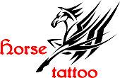 Horse or pegasus with tribal ornamental wings
