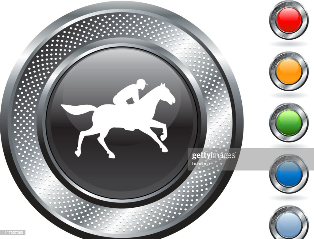 horse race royalty free vector art on metallic button