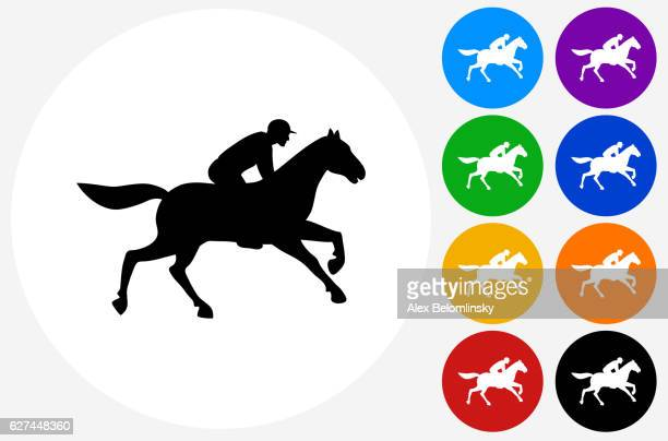 horse racer icon on flat color circle buttons - racehorse stock illustrations