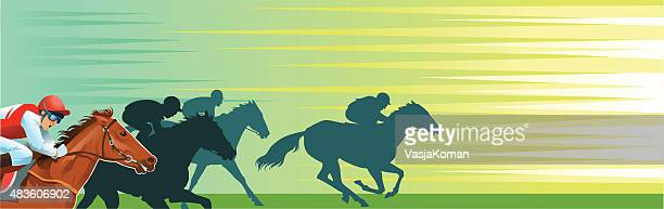 horse racing banner with copy space - horserace - mare stock illustrations, clip art, cartoons, & icons