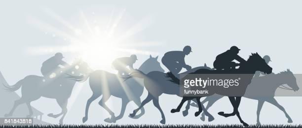ilustrações de stock, clip art, desenhos animados e ícones de horse racing day - pista de atletismo