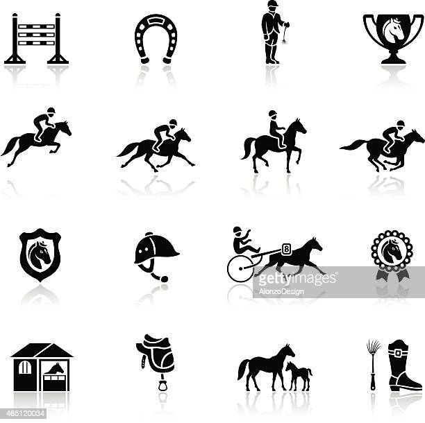 horse racing icon - horse racing stock illustrations