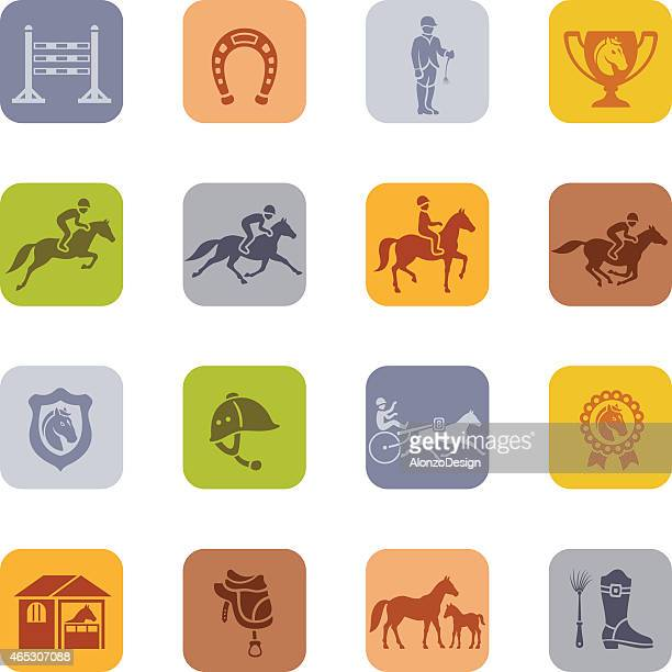 horse racing icon - dressage stock illustrations
