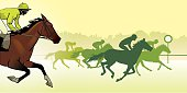 horse racing silhouette, color image