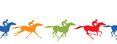 Horse racing silhouette seamless border. Horse and jockey.