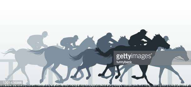 horse racing sport - finishing stock illustrations