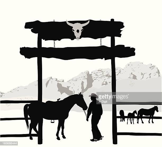 Horse Ranch Vector Silhouette