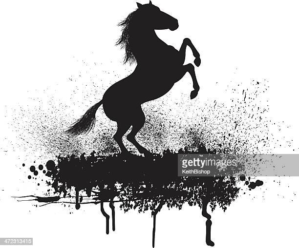 horse rearing grunge graphic - mustang wild horse stock illustrations, clip art, cartoons, & icons