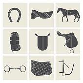 horse riding black icons