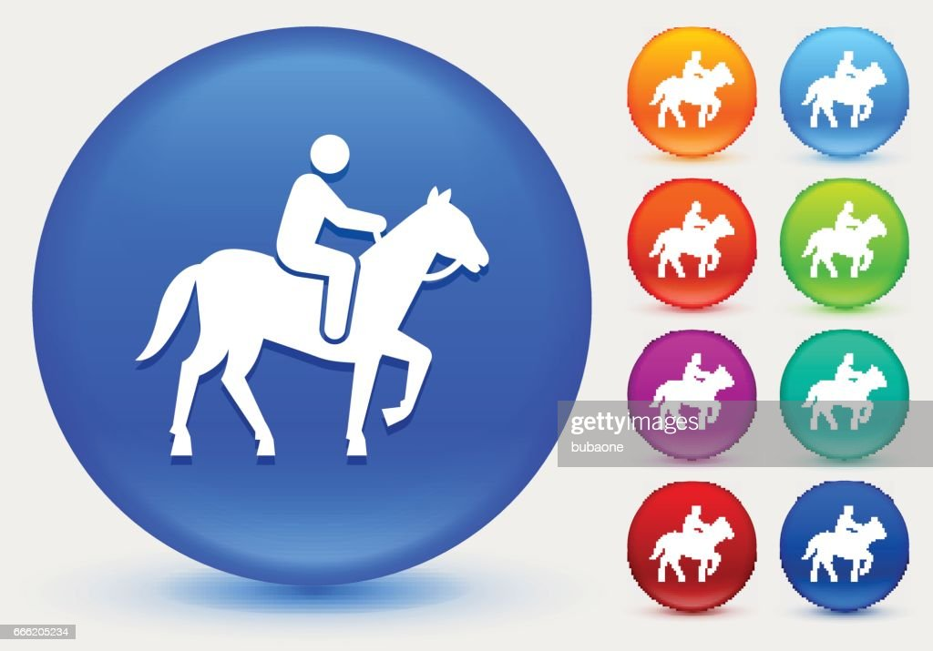 Horse Riding Icon On Shiny Color Circle Buttons High Res Vector Graphic Getty Images