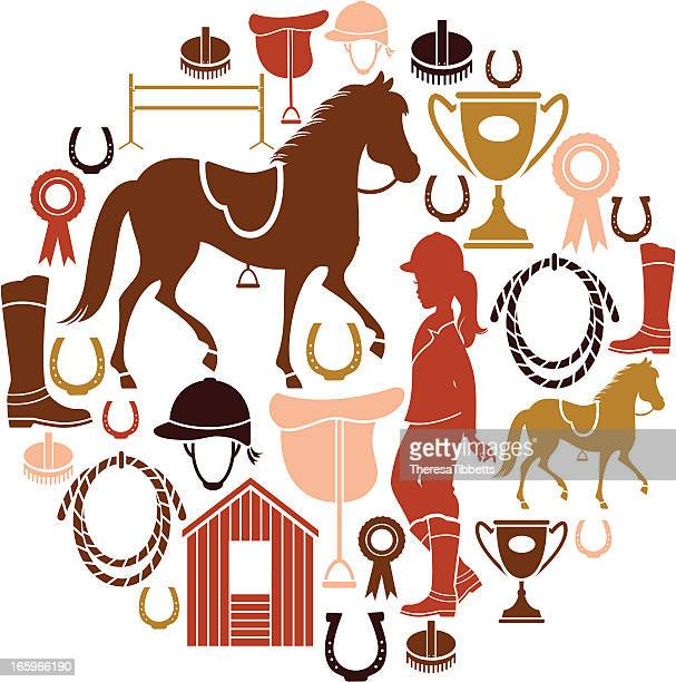 horse riding icon set - horseback riding stock illustrations, clip art, cartoons, & icons