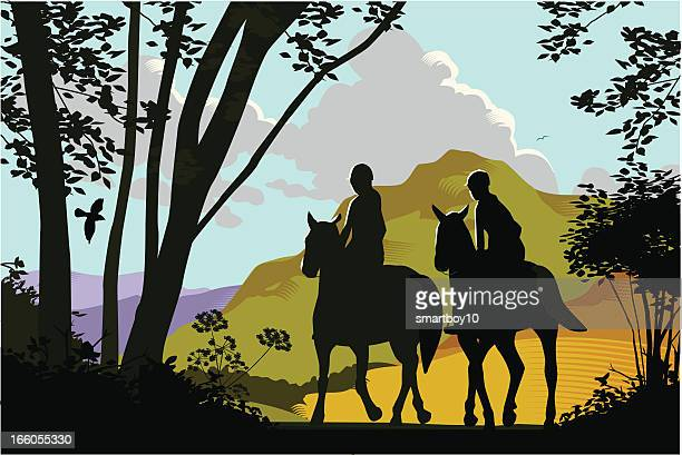 horse riding in the countryside - mare stock illustrations, clip art, cartoons, & icons