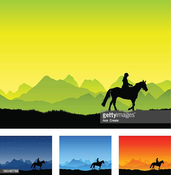 horse riding silhouette with country landscape.jpg - horseback riding stock illustrations, clip art, cartoons, & icons