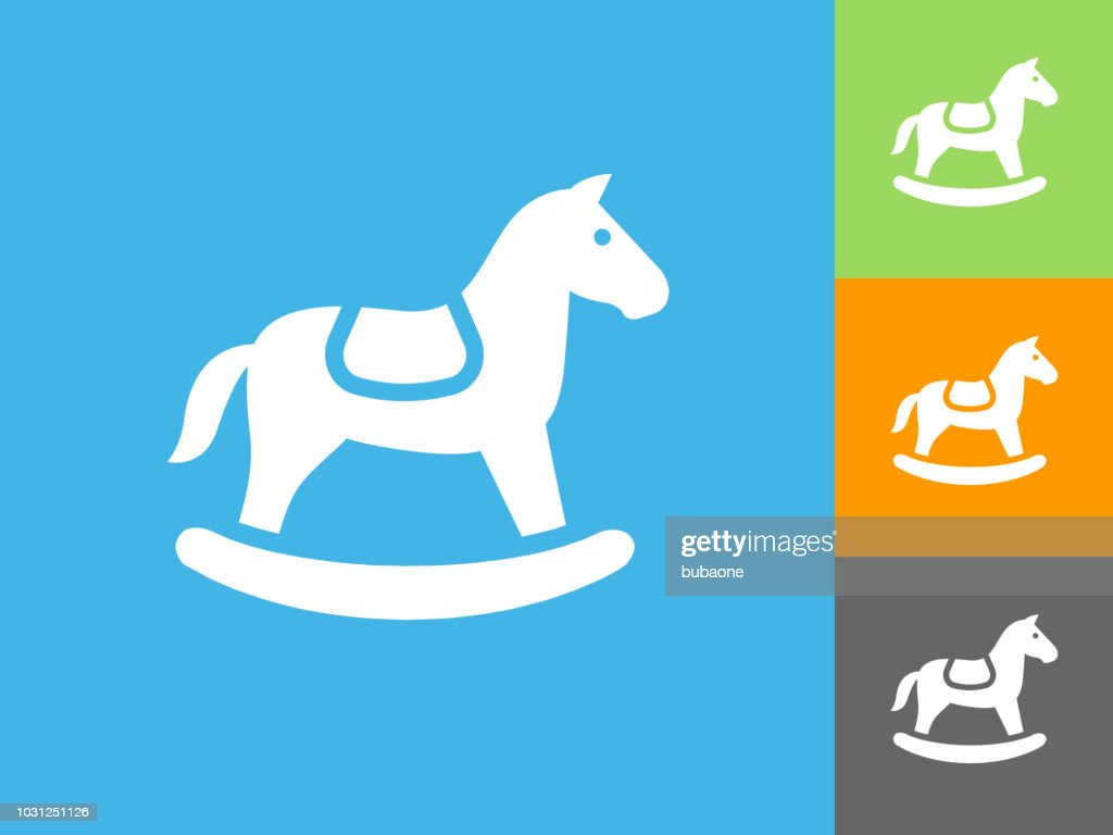 Horse Rocker  Flat Icon on Blue Background