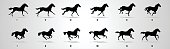 Horse run cycle silhouette