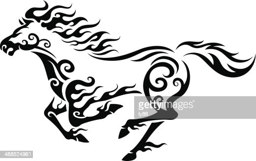 Line Art Rooster : Horses silhouettes vector art getty images