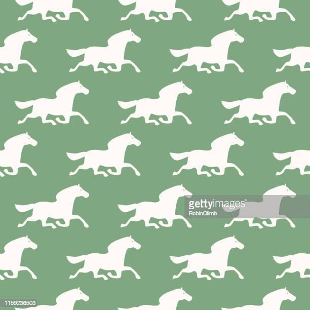illustrazioni stock, clip art, cartoni animati e icone di tendenza di modello senza cuciture per cavalli - cavallo equino