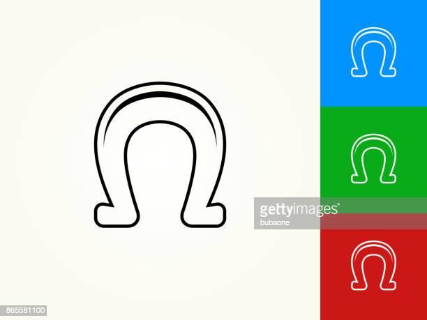 pferd-schuh-schwarzer strich lineare symbol - hufeisen stock-grafiken, -clipart, -cartoons und -symbole