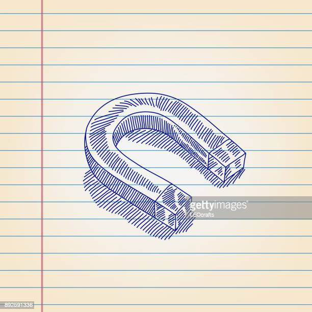 horse shoe magnet drawing on lined paper - magnet stock illustrations, clip art, cartoons, & icons