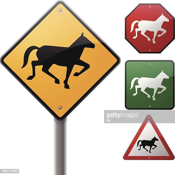 horse signs - enclosure stock illustrations