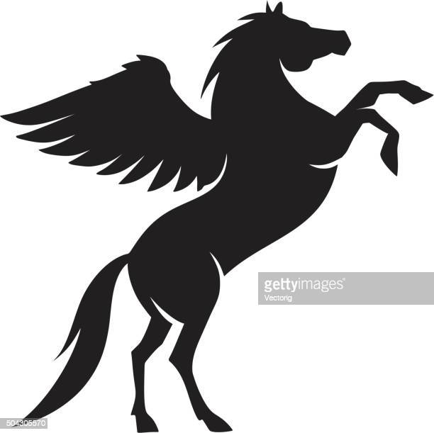 ilustraciones, imágenes clip art, dibujos animados e iconos de stock de caballos silueta - alas desplegadas