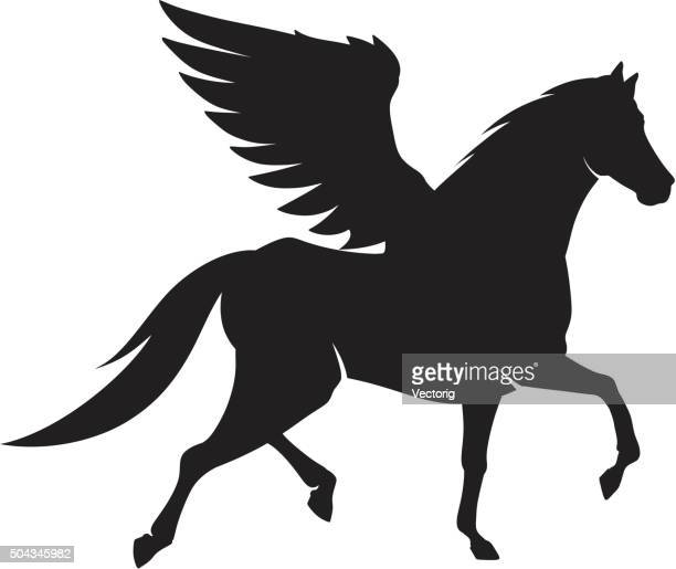 horse silhouette - pegasus stock illustrations, clip art, cartoons, & icons