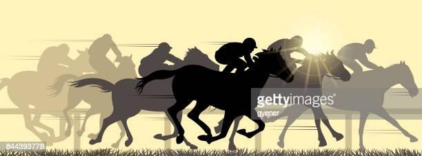 ilustraciones, imágenes clip art, dibujos animados e iconos de stock de deporte de caballo - pista de atletismo
