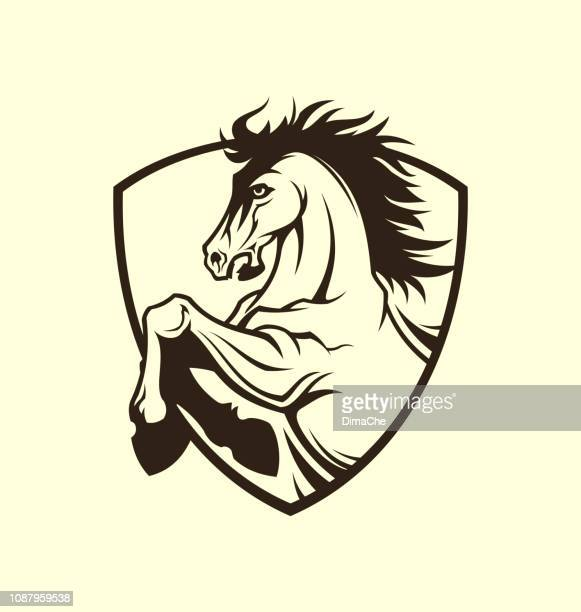 horse symbol on shield - vector cut out stencil - stallion stock illustrations, clip art, cartoons, & icons
