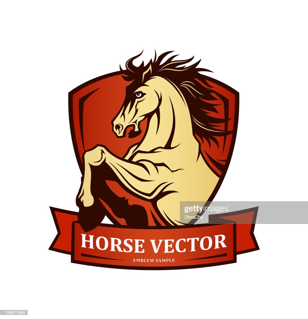 Horse symbol on shield - vector emblem with changeable text on ribbon : stock illustration