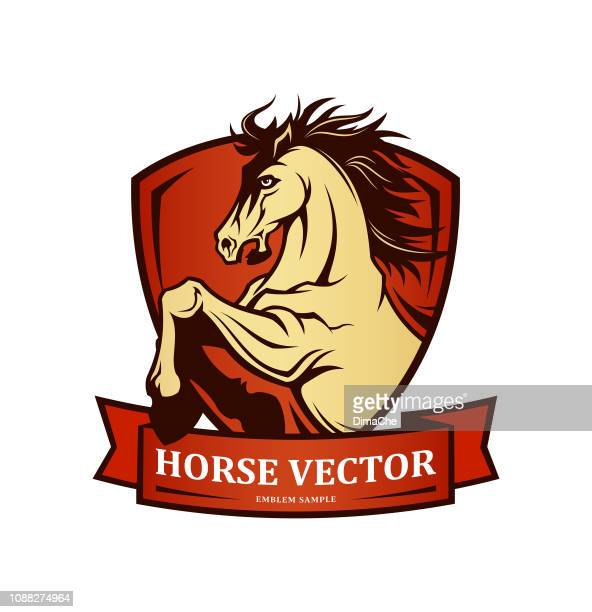 horse symbol on shield - vector emblem with changeable text on ribbon - paddock stock illustrations, clip art, cartoons, & icons