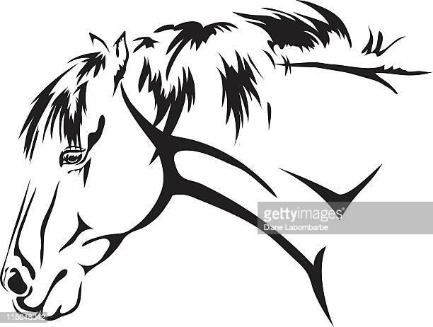 horse - animal mane stock illustrations, clip art, cartoons, & icons