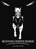 Horse. White Horse. elegant running white horse.