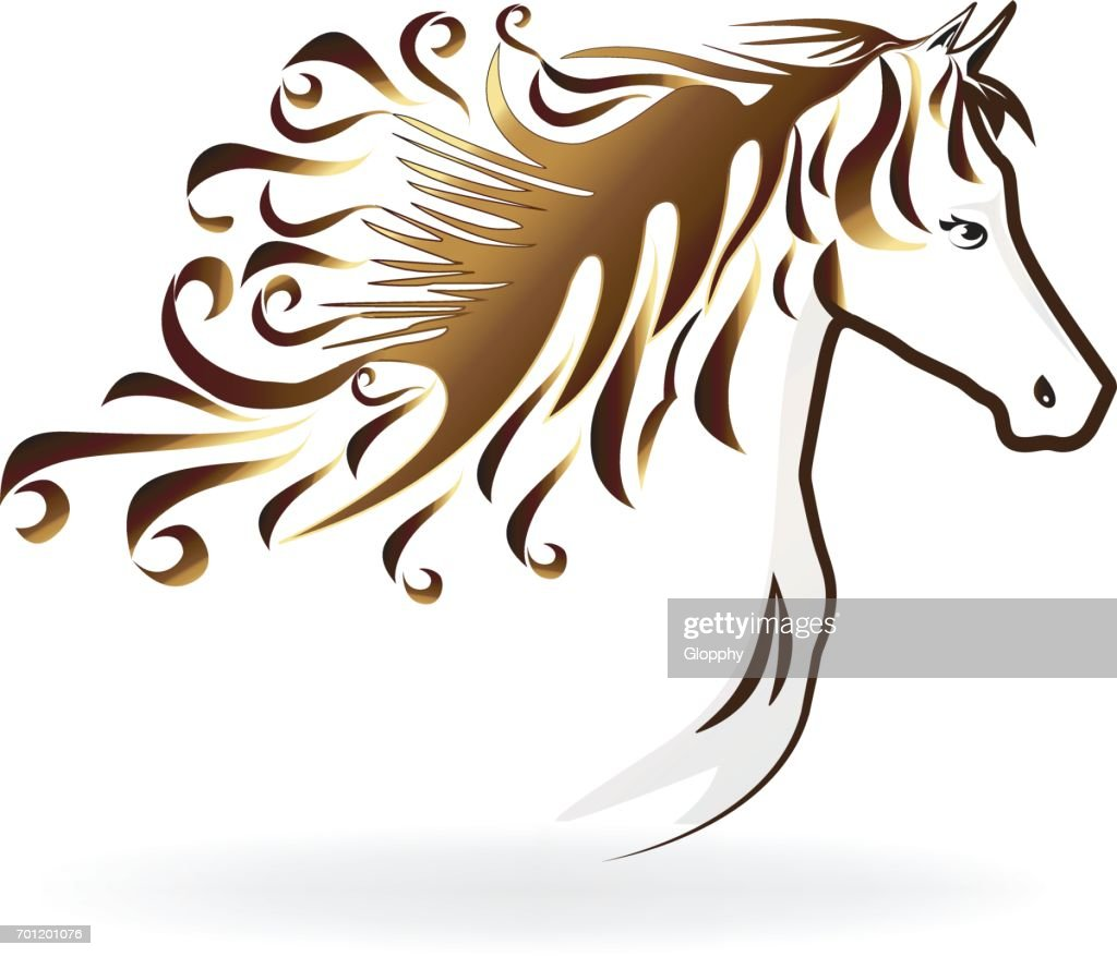 Horse with a swirly hair icon