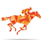 Horse with jockey, Horse racing designed using colorful mosaic pattern graphic