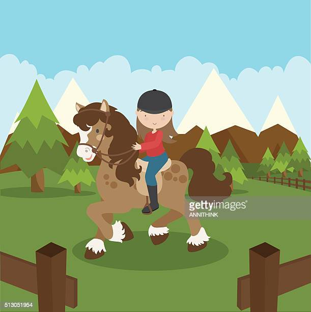 horseback riding - horseback riding stock illustrations, clip art, cartoons, & icons