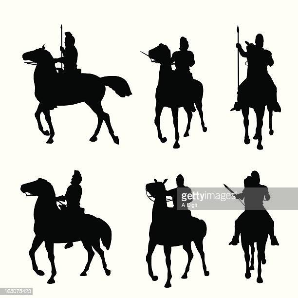 horseback vector silhouette - army stock illustrations, clip art, cartoons, & icons