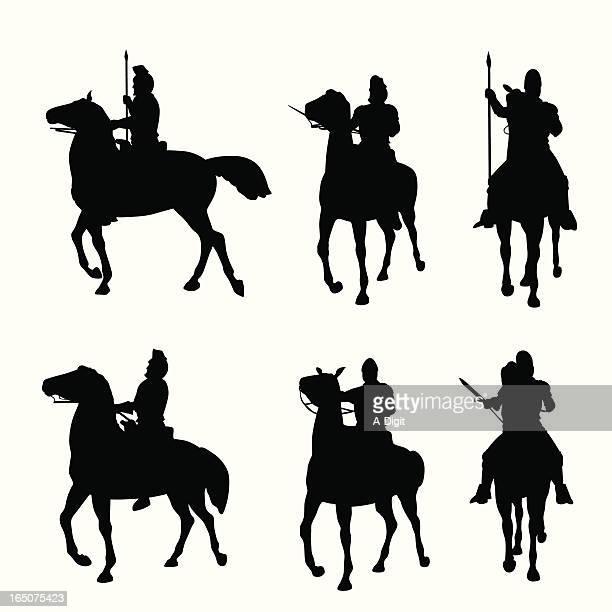 horseback vector silhouette - cavalry stock illustrations