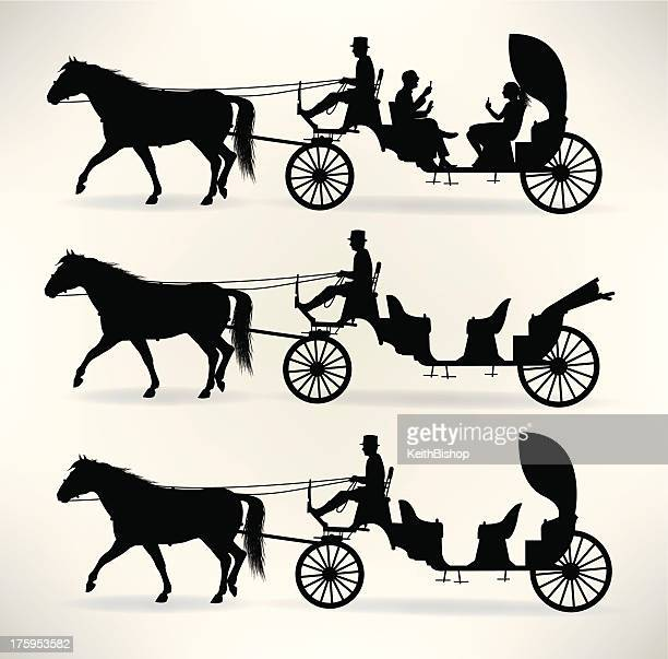 horsedrawn carriage - horsedrawn stock illustrations, clip art, cartoons, & icons