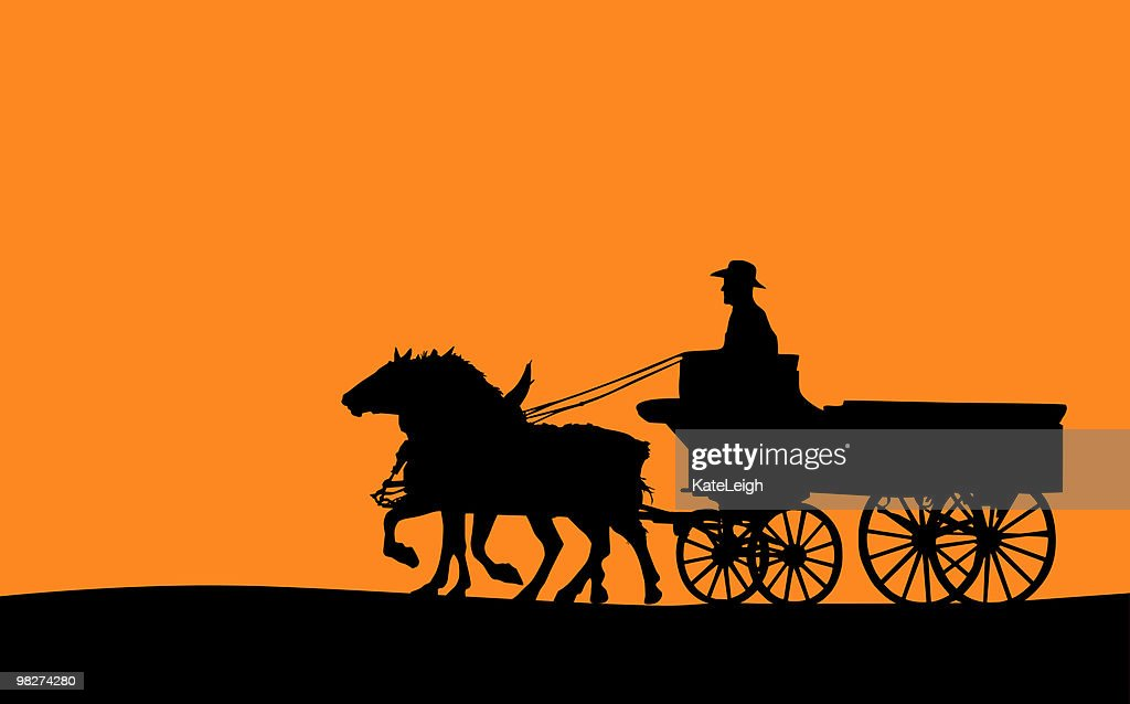 Horse-drawn Wagon (Vector)