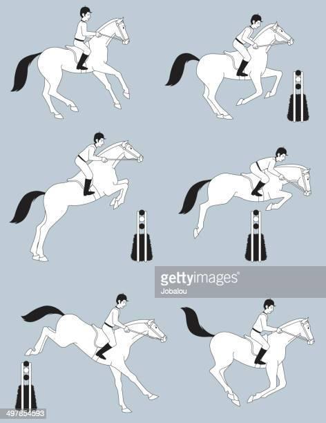 horsemanship jumping horse - mare stock illustrations, clip art, cartoons, & icons